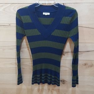 Form fitting Striped V Neck Sweater